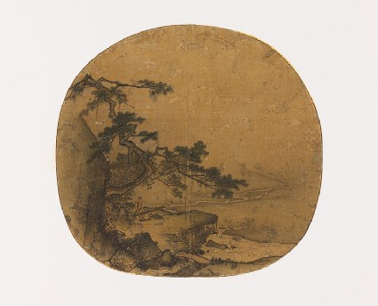Man playing a qin beneath a pine treefront