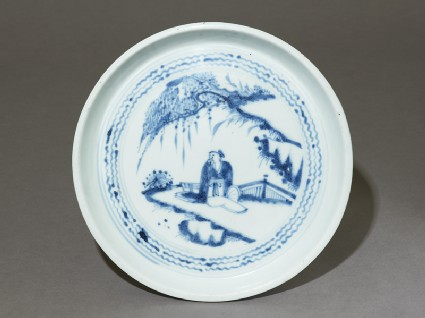 Blue-and-white dish with a figure in a landscapetop