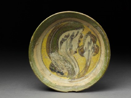 Dish with polychrome glazingtop