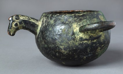 Bowl or ladle with horse's headfront