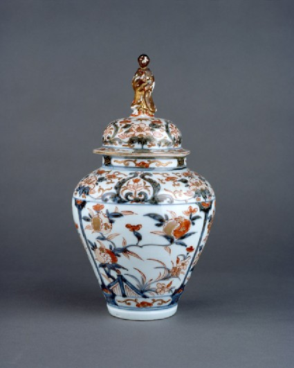 Baluster jar with a knob in the form of a bijin, or beautiful womanside