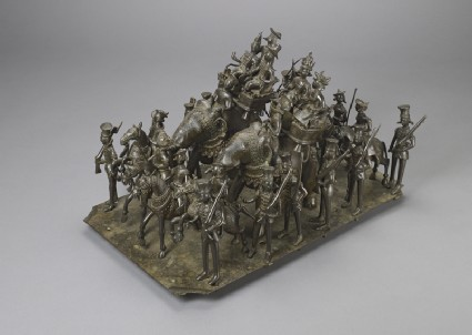 Bronze model depicting the cavalcade of the King of Awadhoblique