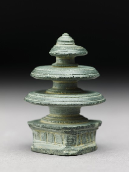 Harmika finial of a reliquary in the form of a stupaoblique