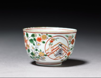 Cup with a geisha on a terraceoblique