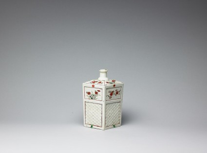 Square bottle with prunus and daisy flowersside