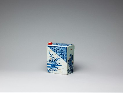 Rectangular bottle with dragons, crabs, and plantsoblique