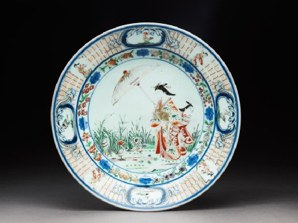 Plate with a courtesan and apprenticetop