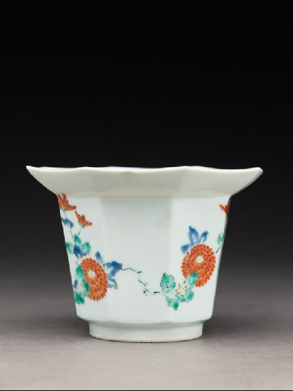 Tall bowl with chrysanthemum spraysside