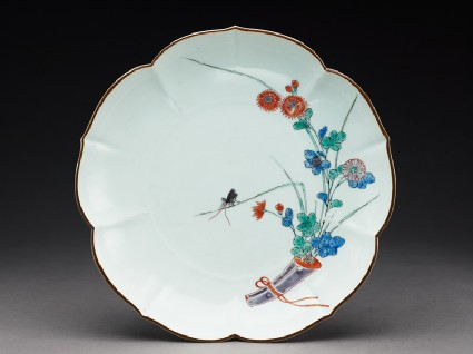 Lobed plate with chrysanthemums and a grasshoppertop