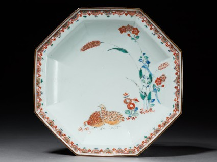 Octagonal dish with quails and flowerstop