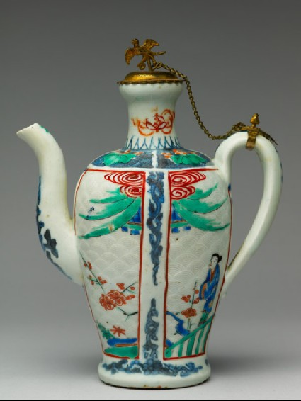 Ewer with a woman and prunus plantsside