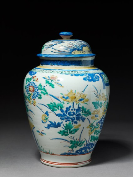 Jar depicting a terraced garden with two verandasside