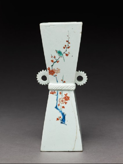 Wall vase with prunus sprays and birdsside
