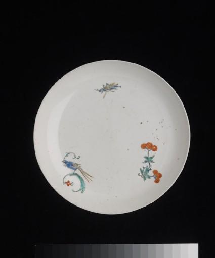 Plate with bird, cricket, and poppy spraytop