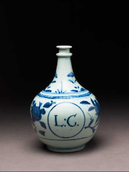 Gallipot with floral decoration and the initials L.G.side