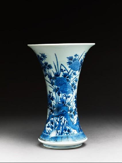 Vase with peonies and chrysanthemumsside