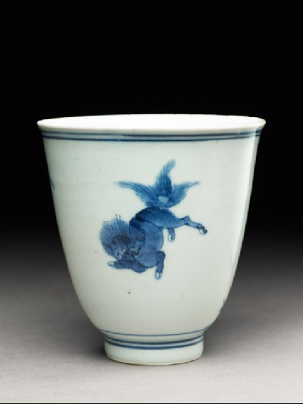 Cup with a shishi, or lion dogoblique