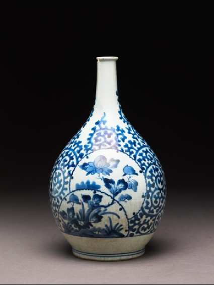 Bottle with cartouches depicting peonies on rocksside