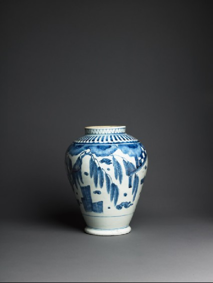 Baluster jar with terraces and landscapeside