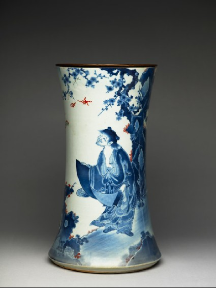 Trumpet vase depicting the sage Kanzan by a lakeside