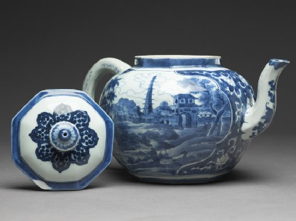 Teapot with scenes derived from Olfert Dapper engravingsside, open
