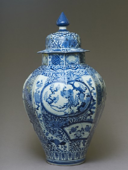 Octagonal jar with a phoenix and plantsside
