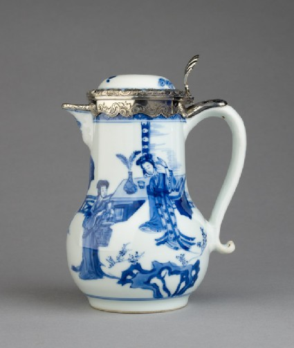 Blue-and-white jug with garden landscape and Dutch silver mountside