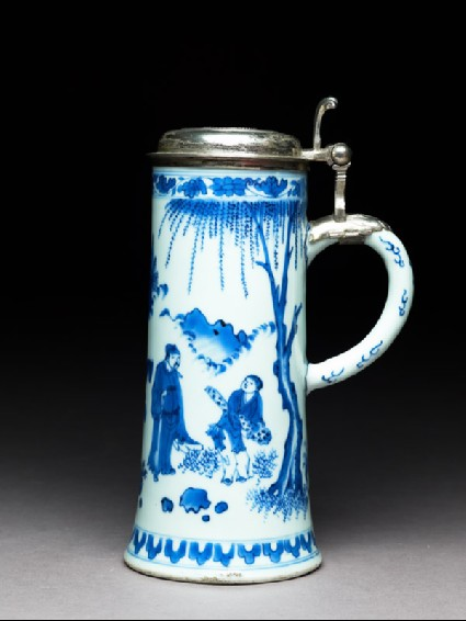 Blue-and-white tankard with Swedish silver mountsside