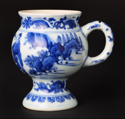 Blue-and-white mustard pot with figure and a horsefront