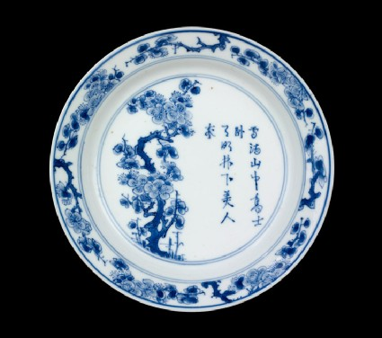 Blue-and-white dish with prunus tree and poemtop