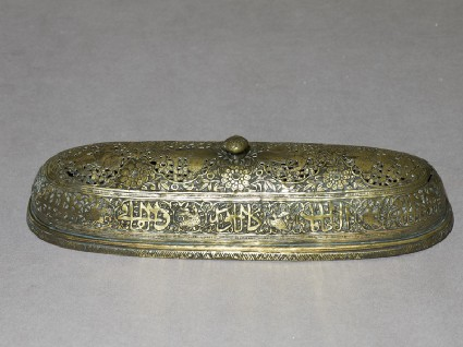 Lid from a qalamdan, or pen box, with figural, vegetal, and calligraphic decorationoblique