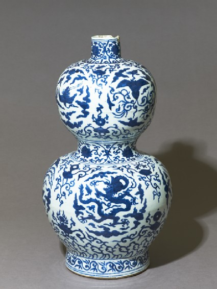 Blue-and-white vase in double-gourd formoblique