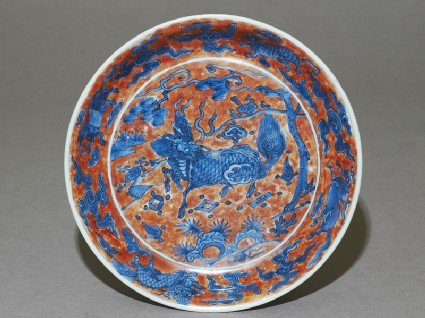 Dish with a kylin, or horned creaturetop
