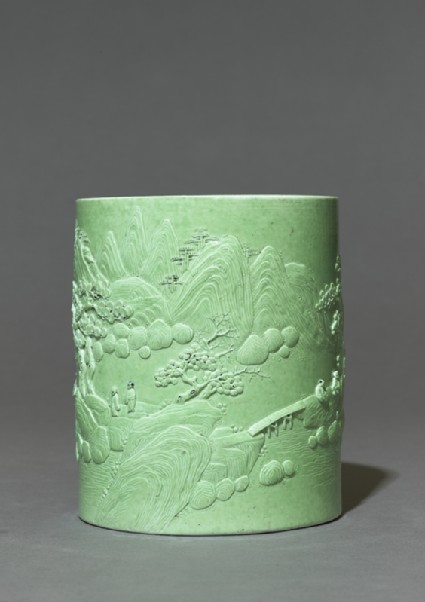 Brush pot with figures in a landscapeside