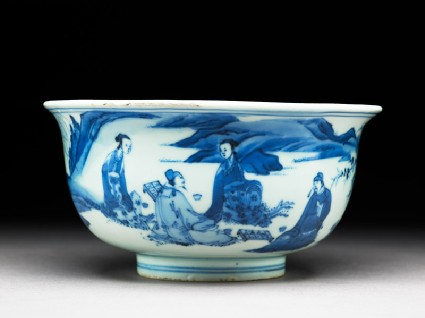 Blue-and-white bowl with figures playing chequersside