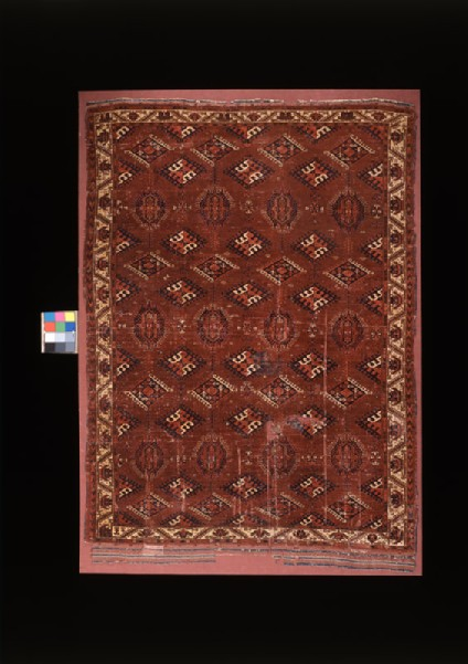 Carpet with geometric shapes and medallionsfront