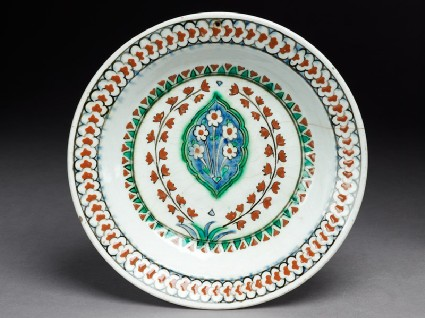 Dish with lobed medallion and flowerstop