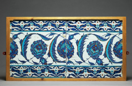Tile decorated with peonies and serrated leavesfront, with EA1978.1529