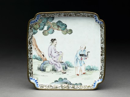 Copper tray with figures under a treetop