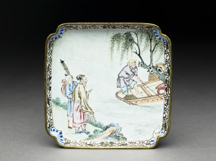 Copper tray with figures by a rivertop