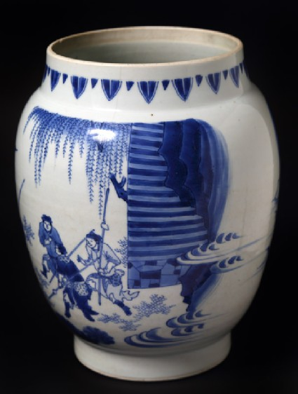 Blue-and-white jar with warrior on horsebackfront