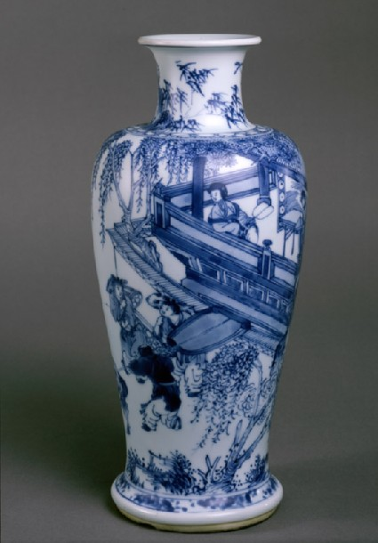 Blue-and-white vase with figures on a balconyside