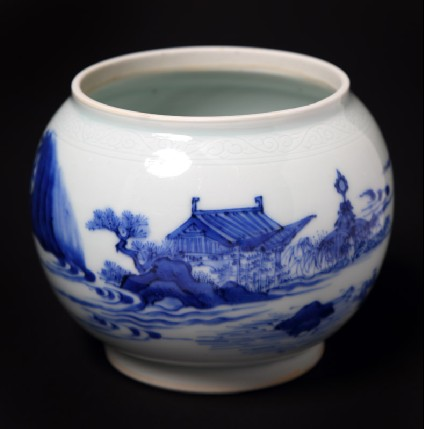 Blue-and-white bowl with figure lying beneath a treefront