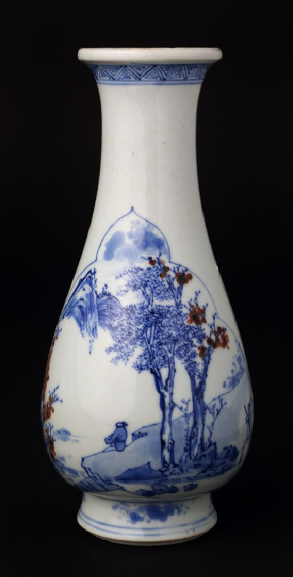 Blue-and-white vase with figure contemplating the landscapefront