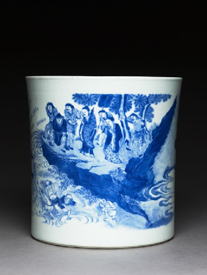 Blue-and-white brush pot with demons in a riverside