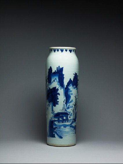 Blue-and-white vase with figures in a mountainous landscapeside