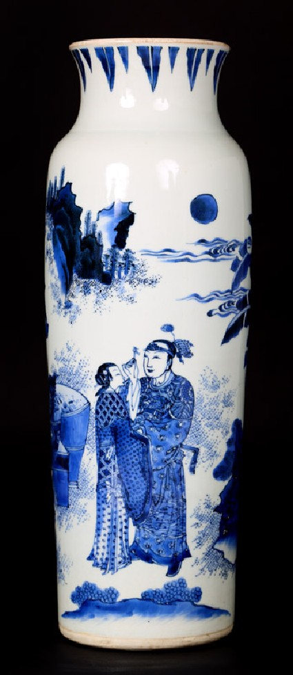 Blue-and-white vase with lovers in a landscapefront
