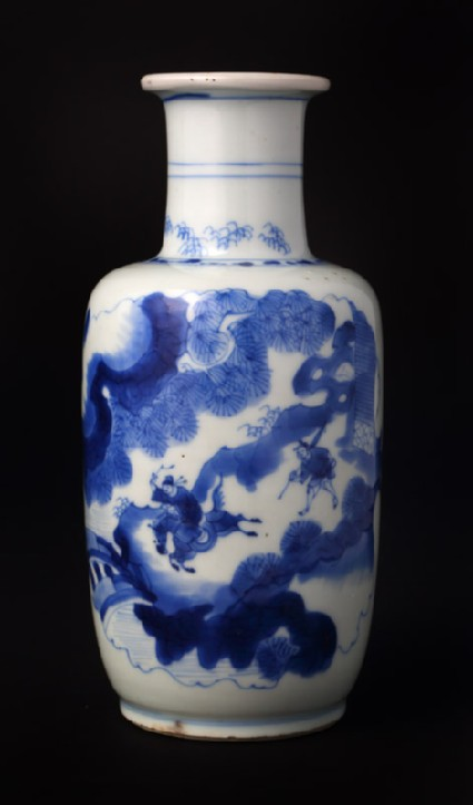 Blue-and-white baluster vase with figures in a landscapefront