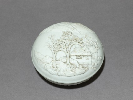 Dehua ware box with landscapeoblique