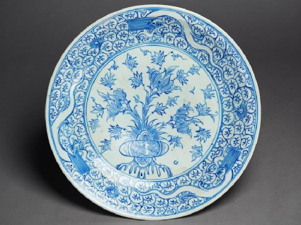 Dish with peonies and three dragonstop